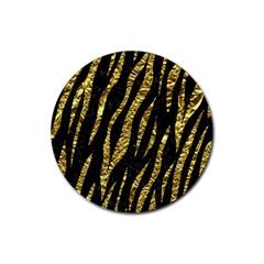 Skin3 Black Marble & Gold Foil Rubber Coaster (round)  by trendistuff