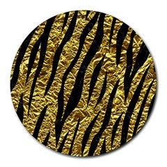 Skin3 Black Marble & Gold Foil (r) Round Mousepads