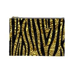Skin4 Black Marble & Gold Foil Cosmetic Bag (large)  by trendistuff