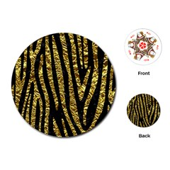 Skin4 Black Marble & Gold Foil (r) Playing Cards (round)  by trendistuff