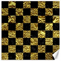 Square1 Black Marble & Gold Foil Canvas 12  X 12   by trendistuff