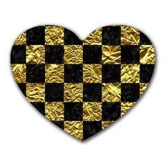 Square1 Black Marble & Gold Foil Heart Mousepads by trendistuff