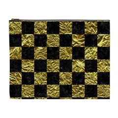 Square1 Black Marble & Gold Foil Cosmetic Bag (xl) by trendistuff