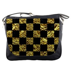 Square1 Black Marble & Gold Foil Messenger Bags by trendistuff