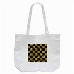 Square1 Black Marble & Gold Foil Tote Bag (white) by trendistuff