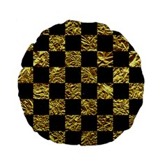 Square1 Black Marble & Gold Foil Standard 15  Premium Flano Round Cushions by trendistuff