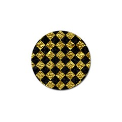 Square2 Black Marble & Gold Foil Golf Ball Marker (10 Pack) by trendistuff