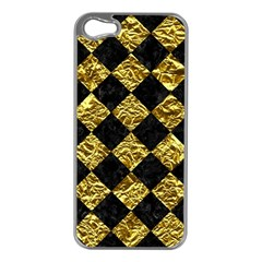 Square2 Black Marble & Gold Foil Apple Iphone 5 Case (silver) by trendistuff
