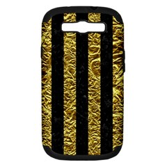 Stripes1 Black Marble & Gold Foil Samsung Galaxy S Iii Hardshell Case (pc+silicone) by trendistuff