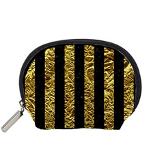 Stripes1 Black Marble & Gold Foil Accessory Pouches (small)  by trendistuff