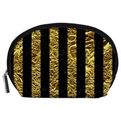 Stripes1 Black Marble & Gold Foil Accessory Pouches (large)  by trendistuff