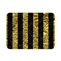 Stripes1 Black Marble & Gold Foil Double Sided Flano Blanket (mini)  by trendistuff