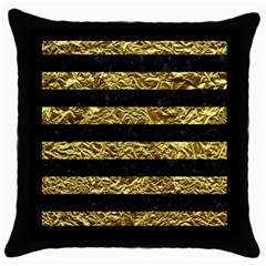 Stripes2 Black Marble & Gold Foil Throw Pillow Case (black) by trendistuff