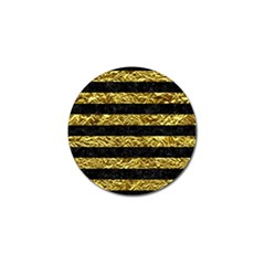 Stripes2 Black Marble & Gold Foil Golf Ball Marker by trendistuff