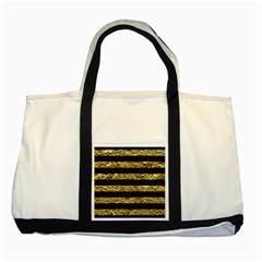 Stripes2 Black Marble & Gold Foil Two Tone Tote Bag by trendistuff