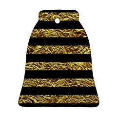 Stripes2 Black Marble & Gold Foil Ornament (bell) by trendistuff