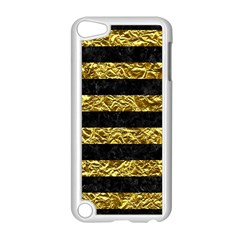 Stripes2 Black Marble & Gold Foil Apple Ipod Touch 5 Case (white) by trendistuff