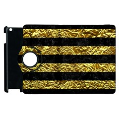 Stripes2 Black Marble & Gold Foil Apple Ipad 2 Flip 360 Case