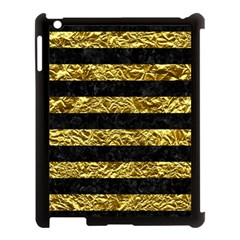 Stripes2 Black Marble & Gold Foil Apple Ipad 3/4 Case (black) by trendistuff