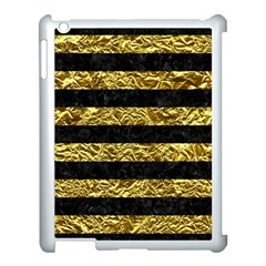 Stripes2 Black Marble & Gold Foil Apple Ipad 3/4 Case (white) by trendistuff