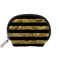 Stripes2 Black Marble & Gold Foil Accessory Pouches (small)  by trendistuff