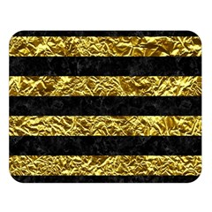 Stripes2 Black Marble & Gold Foil Double Sided Flano Blanket (large)  by trendistuff