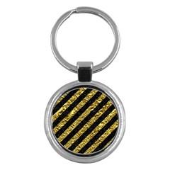 Stripes3 Black Marble & Gold Foil Key Chains (round)  by trendistuff
