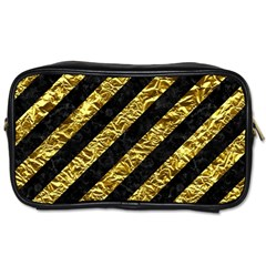 Stripes3 Black Marble & Gold Foil Toiletries Bags 2 Side by trendistuff