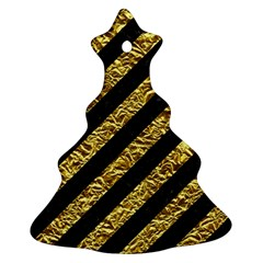 Stripes3 Black Marble & Gold Foil Christmas Tree Ornament (two Sides) by trendistuff
