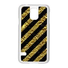 Stripes3 Black Marble & Gold Foil Samsung Galaxy S5 Case (white) by trendistuff