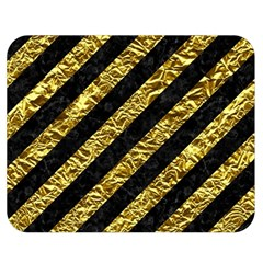 Stripes3 Black Marble & Gold Foil Double Sided Flano Blanket (medium)  by trendistuff