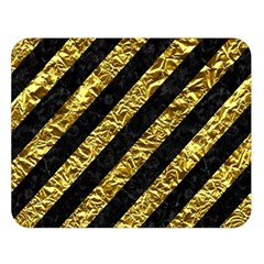Stripes3 Black Marble & Gold Foil Double Sided Flano Blanket (large)  by trendistuff