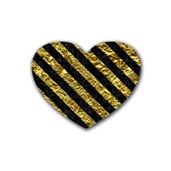 Stripes3 Black Marble & Gold Foil (r) Rubber Coaster (heart)  by trendistuff