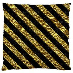 Stripes3 Black Marble & Gold Foil (r) Standard Flano Cushion Case (one Side) by trendistuff