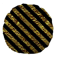 Stripes3 Black Marble & Gold Foil (r) Large 18  Premium Flano Round Cushions by trendistuff