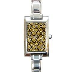 Tile1 Black Marble & Gold Foil (r) Rectangle Italian Charm Watch by trendistuff