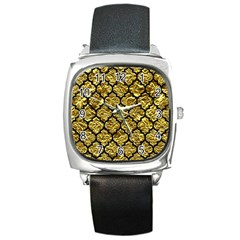 Tile1 Black Marble & Gold Foil (r) Square Metal Watch by trendistuff