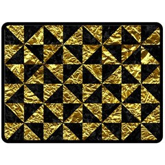 Triangle1 Black Marble & Gold Foil Double Sided Fleece Blanket (large)  by trendistuff