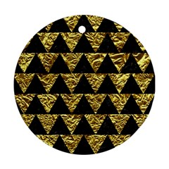 Triangle2 Black Marble & Gold Foil Ornament (round) by trendistuff