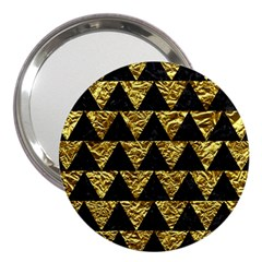 Triangle2 Black Marble & Gold Foil 3  Handbag Mirrors by trendistuff