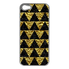 Triangle2 Black Marble & Gold Foil Apple Iphone 5 Case (silver)