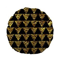 Triangle2 Black Marble & Gold Foil Standard 15  Premium Flano Round Cushions by trendistuff