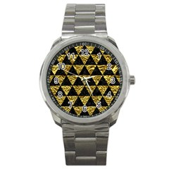 Triangle3 Black Marble & Gold Foil Sport Metal Watch by trendistuff