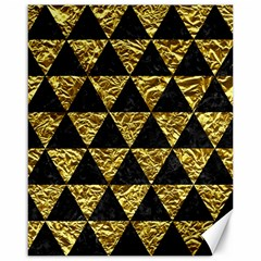 Triangle3 Black Marble & Gold Foil Canvas 16  X 20   by trendistuff