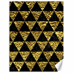 Triangle3 Black Marble & Gold Foil Canvas 18  X 24   by trendistuff