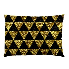 Triangle3 Black Marble & Gold Foil Pillow Case by trendistuff