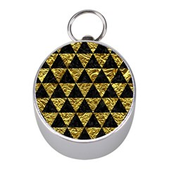 Triangle3 Black Marble & Gold Foil Mini Silver Compasses by trendistuff
