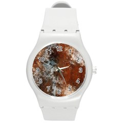 Marbled Structure 4c Round Plastic Sport Watch (m) by MoreColorsinLife