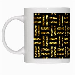 Woven1 Black Marble & Gold Foil White Mugs by trendistuff