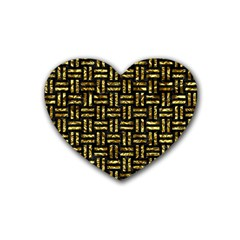 Woven1 Black Marble & Gold Foil Heart Coaster (4 Pack)  by trendistuff